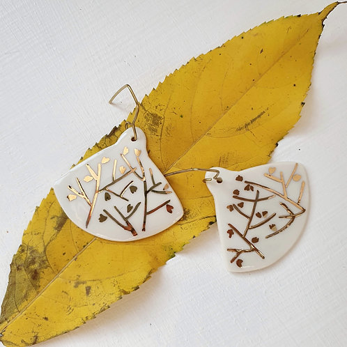 White porcelain earrings with tree