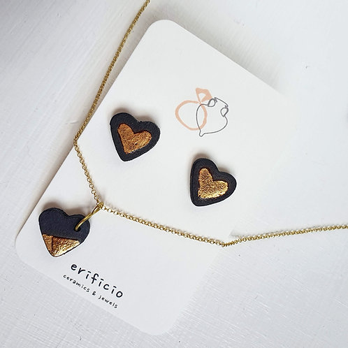 Black stoneware heart pendant with gold plated silver chain, small size