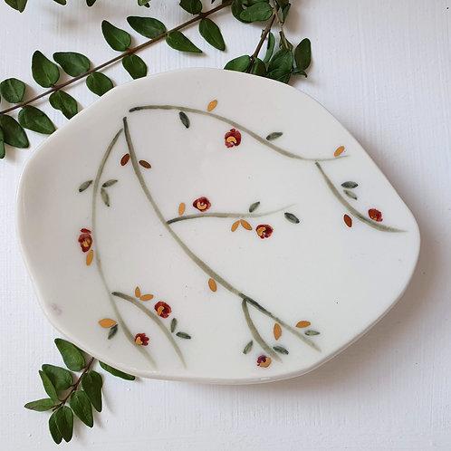 Red roses jewellery holder porcelain dish