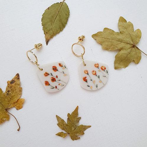 Orange roses porcelain earrings