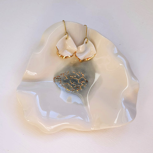 White and gold petals, pendant porcelain earrings