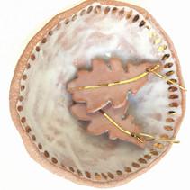 pink stoneware oak earrings