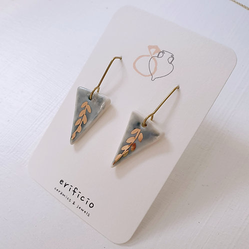 Sky blue porcelain triangle earrings with branches