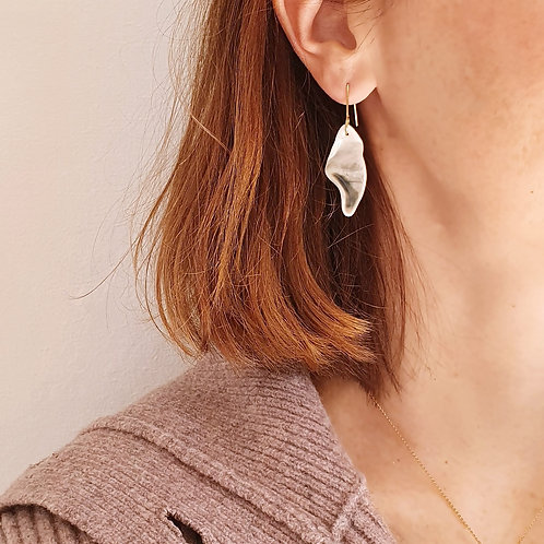 Long green petal, porcelain pendat earrings
