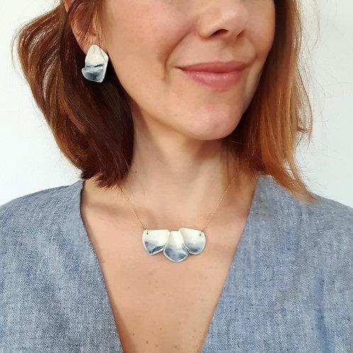 Blue petals, porcelain stud earrings