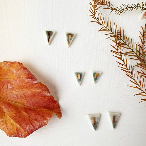 Porcelain stud triangle earrings with a glimpse of gold