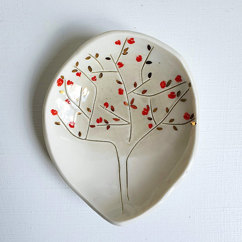 Cherry tree jewellery holder porcelain dish with gold luster