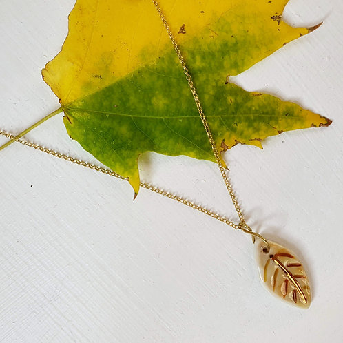 Sand porcelain leaf pendant with silver chain, small size