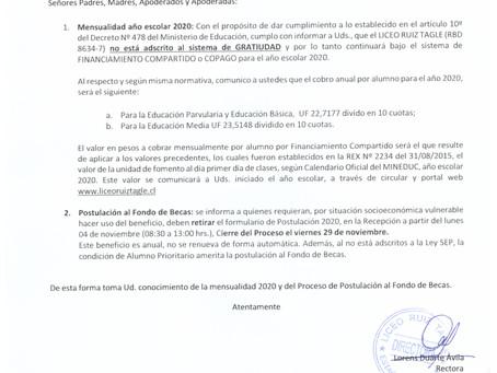 CIRCULAR MENSUALIDAD POSTULACIÓN FONDO DE BECAS