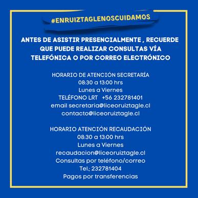 HORARIO DE ATENCIÓN RECORDAMOS TELÉFONO