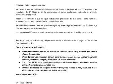 COMUNICADO 14 DE MARZO ATENCIÓN