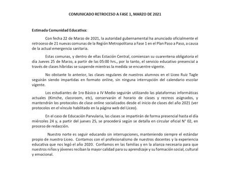 COMUNICADO RETROCESO A FASE 1 EN ESTACIÓN CENTRAL