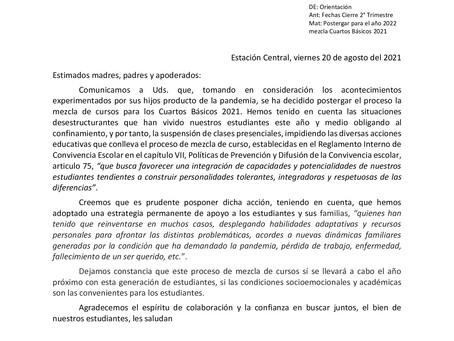 POSTERGACIÓN MEZCLA DE CURSO 4TOS BÀSICOS
