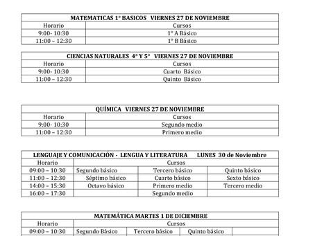 CALENDARIO EVALUACIONES CIERRE DEL SEGUNDO SEMESTRE 2020 CLASES REMOTAS