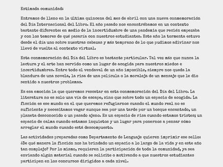 ACTIVIDADES POR CELEBRACIÓN DEL DÍA INTERNACIONAL DEL LIBRO Y EL DERECHO DE AUTOR