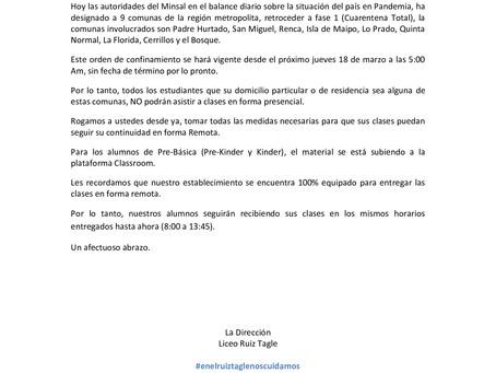 COMUNICADO COMUNAS EN CUARENTENA