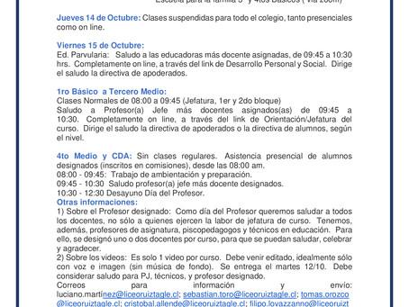 CALENDARIO SEMANA DEL 12 DE OCTUBRE
