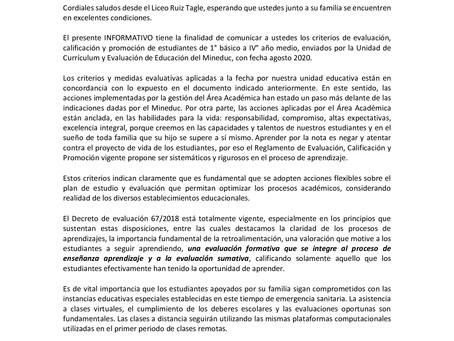 INFORMATIVO Nº 5 Acciones respecto de la Evaluación, Calificación y promoción.