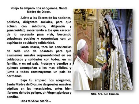 """""""En vísperas de la Fiesta de la Virgen del Carmen, te invito a rezar por nuestro país"""""""