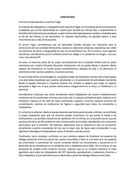 COMUNICADO TRABAJADORES LICEO RUIZ TAGLE