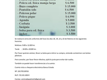 CENTRO DE PADRES INFORMA VENTA UNIFORMES