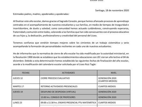 CIRCULAR FECHAS FINALIZACIÓN DE AÑO ESCOLAR