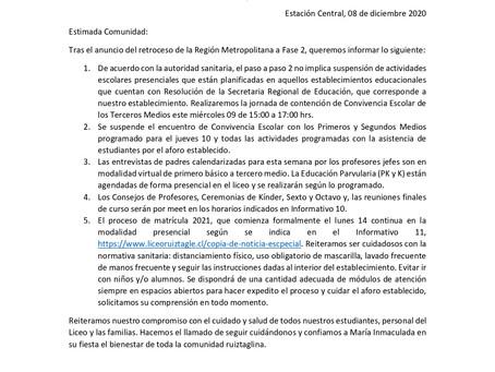COMUNICADO TRAS ANUNCIO DE RETROCESO RM A FASE 2
