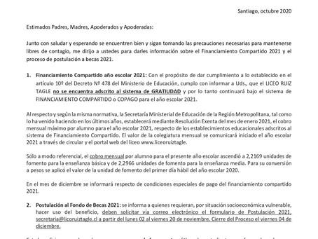 FINANCIAMIENTO COMPARTIDO 2021 Y POSTULACIÓN AL FONDO DE BECAS AÑO 2021