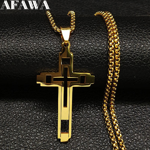 2021 Fashion Cross Stainless Steel Necklace for Men Gold Color Jewelry Collares