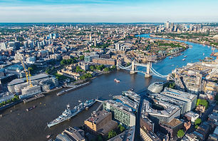 London aerial view with urban architectu