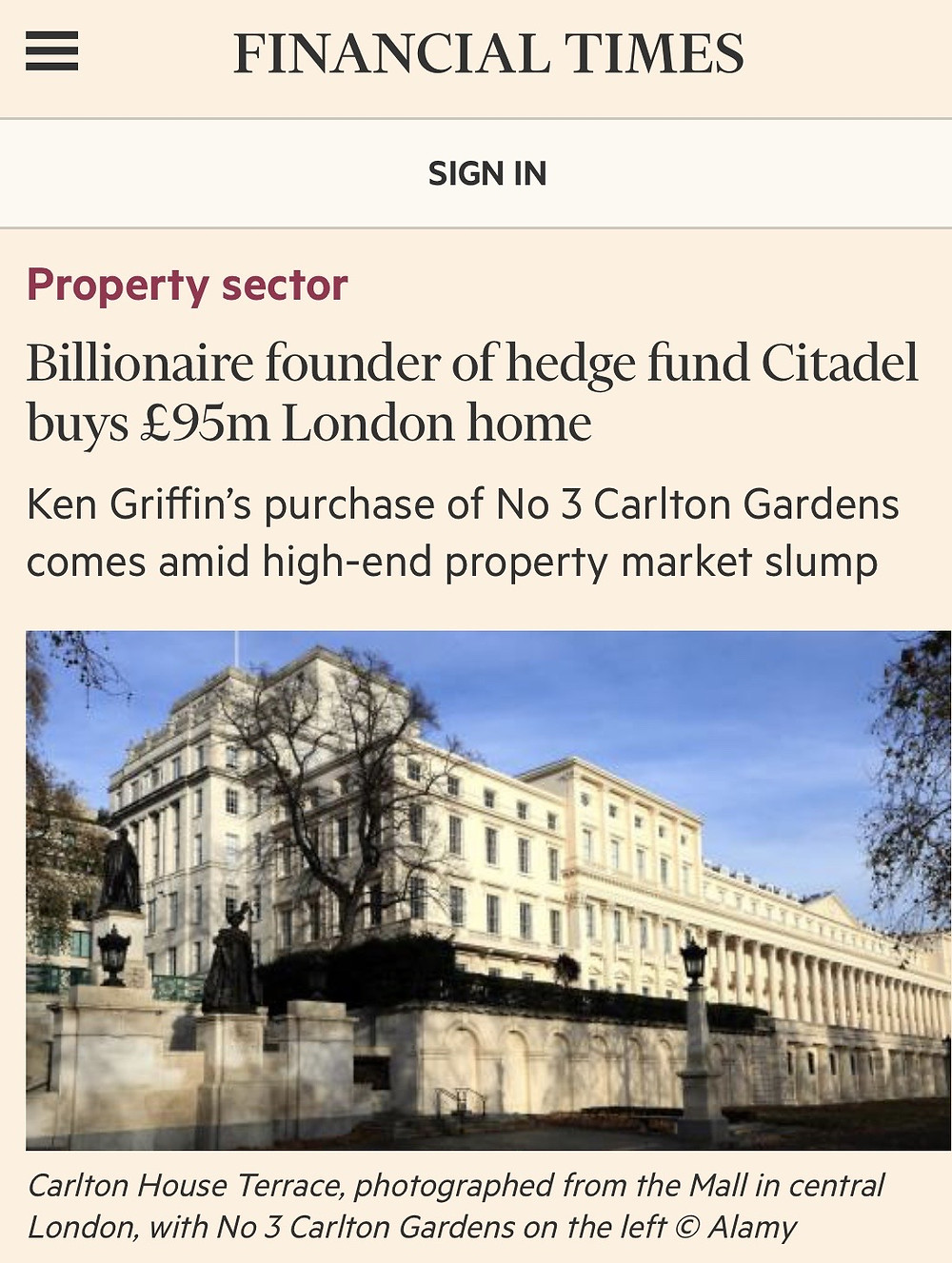 Citadel founder buys £95m London Home