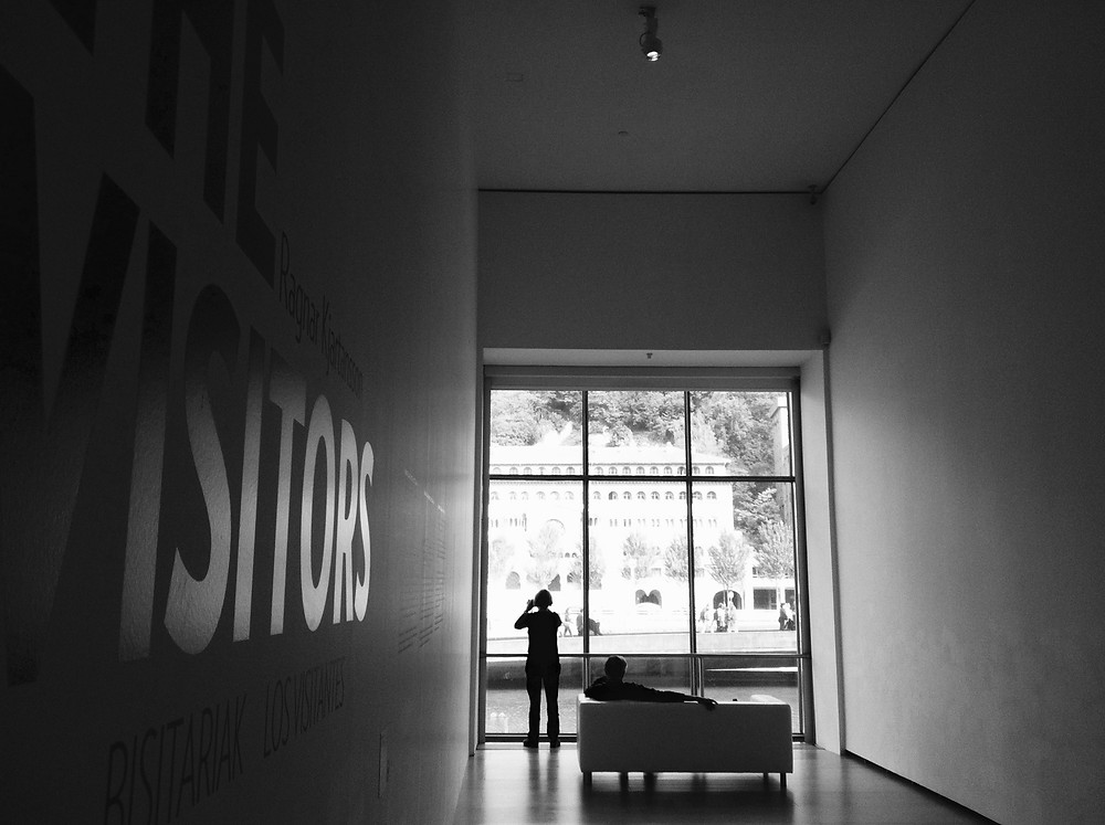 Black and white photography of the window before entering Ragnar Kjartansson's The Visitors