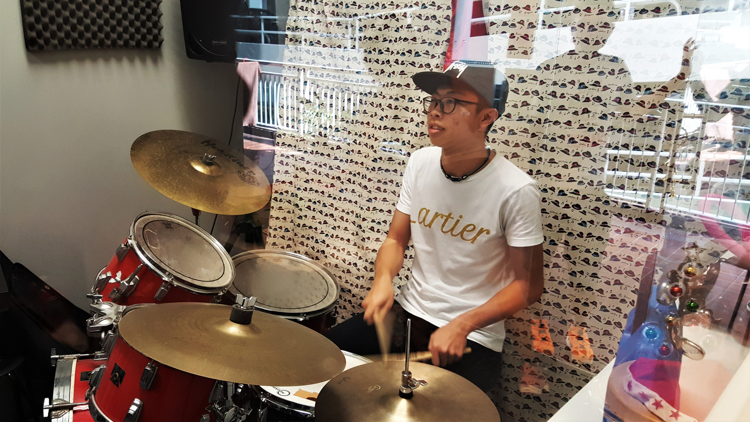 Shawn (our student) on the drums!