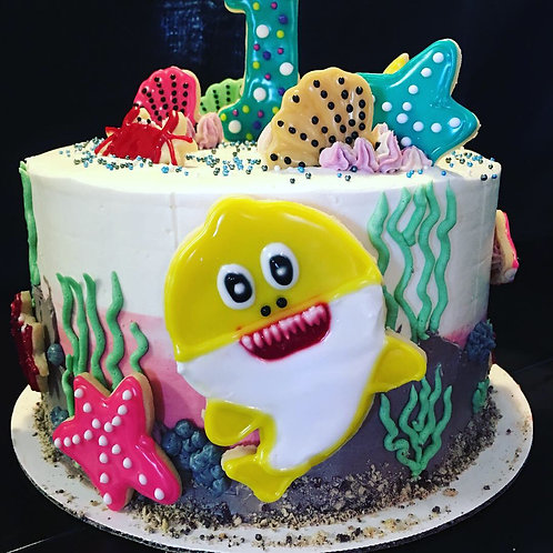 Baby shark theme birthday cake