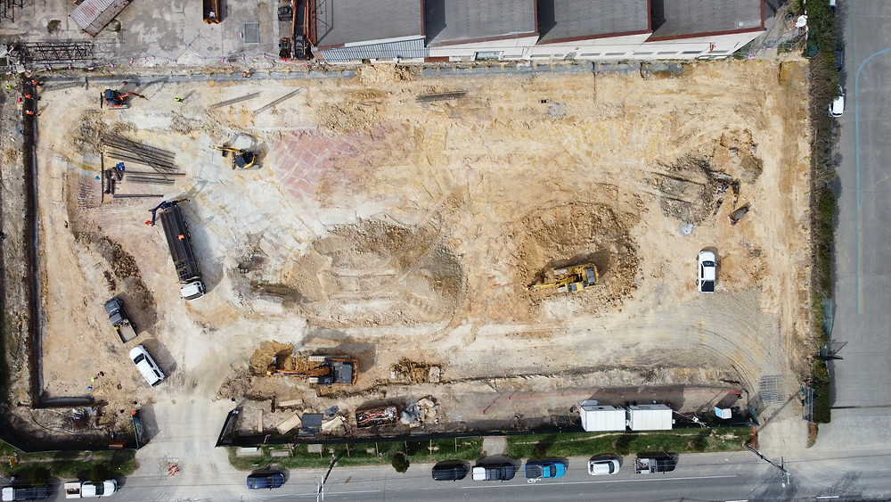 Bird's eye view of construction at The Base Ringwood on 93a Heatherdale Road.