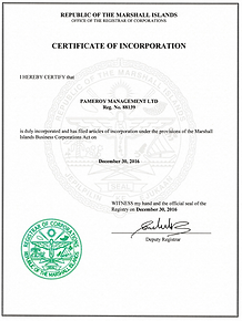 Certificate of Incorporation Pameroy Management Ltd