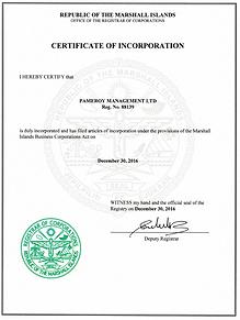 Certificate of Incorporation Pameroy Management Ltd