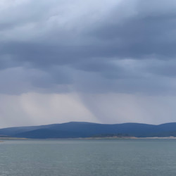 Rain over Lake Eucumbene - Western shore