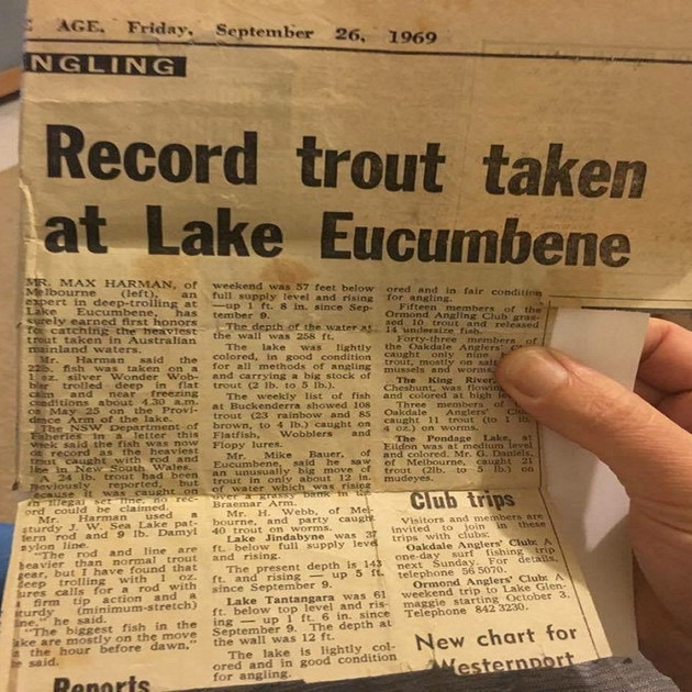 Article - Largest trout caught in Lake E