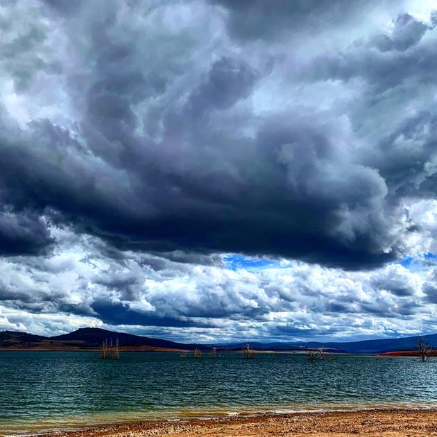 Storm clouds gather over Lake Eucumbene.