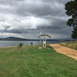 Lookout at Old Adaminaby as rain moves a