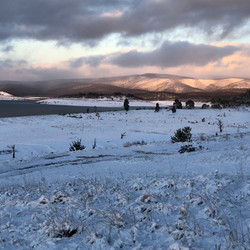 Old Adaminaby at Lake Eucumbene in snow.