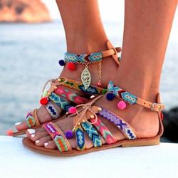 Sandales en cuir pour femme, chaussures d'été, style gladiateur bohème, plates.