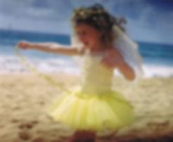 Girl playing at beach