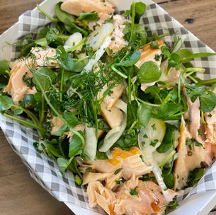 HOT SMOKED TROUT PICKLED FENNEL & WATERCRESS