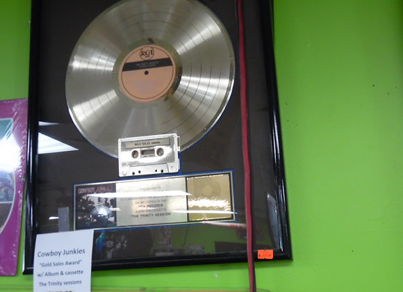 Cowboy Junkies Gold Sales Award.  Gold Record and Cassette