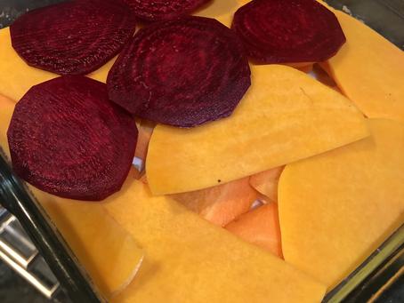 Root Vegetable Napoleon with Truffled Almond-Mushroom Duxelles