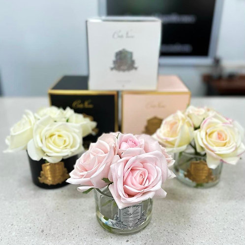 Silk Three Roses in Glass Vase Diffuser