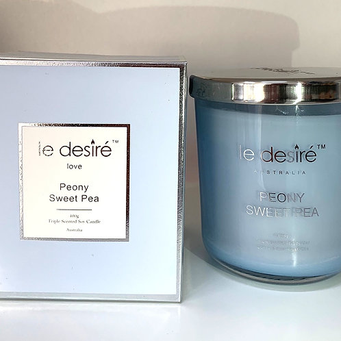 Le Desire 400gm Soy Wax Candle - Peony Sweet Pea