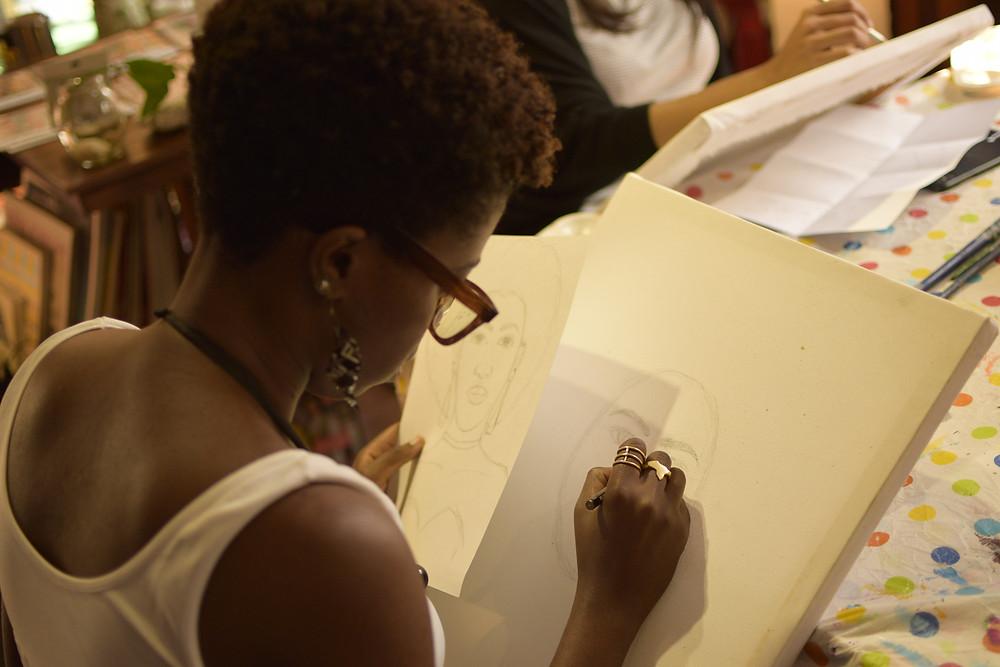 Akumu Fiona - Sketching before painting - Dabaki Cambodia - Feb 2018